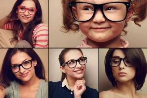 women and child wearing glasses arranged in a grid